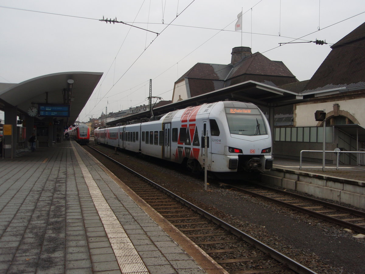 429 106 als RE 2 nach Frankfurt (Main) Hbf in Koblenz Hbf. 18.02.2017